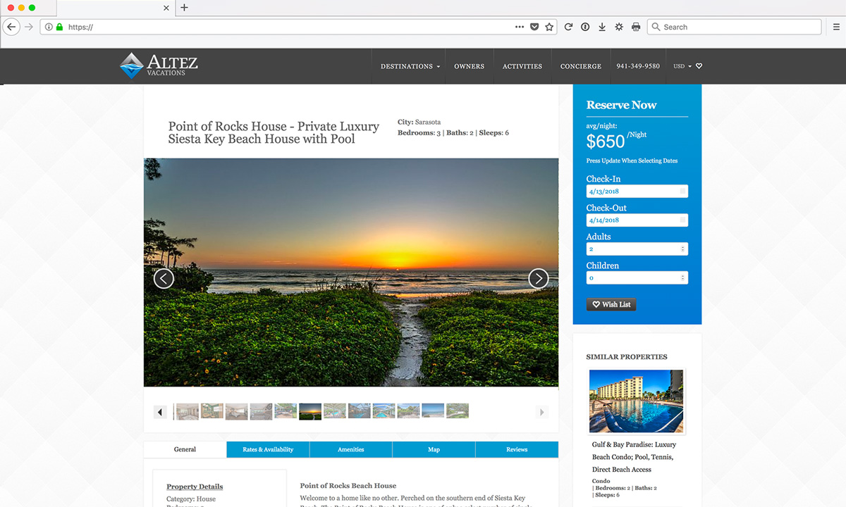 Altez Vacations Website Design