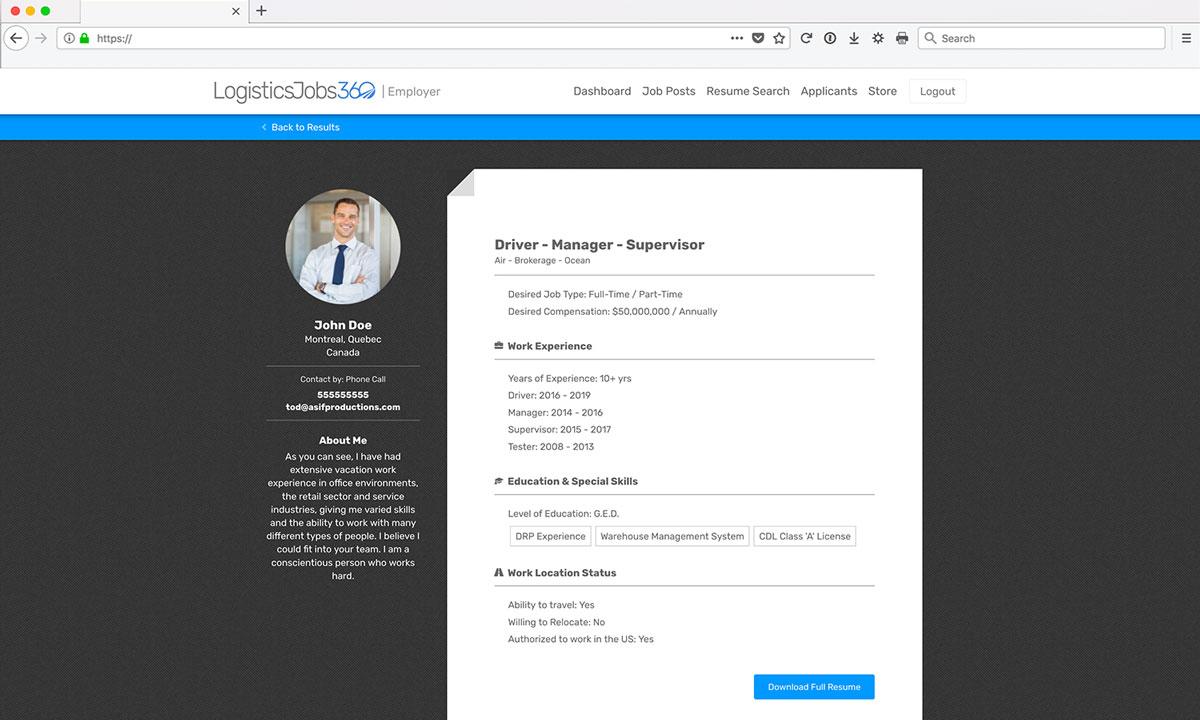 Site Web - Emplois en Logistique